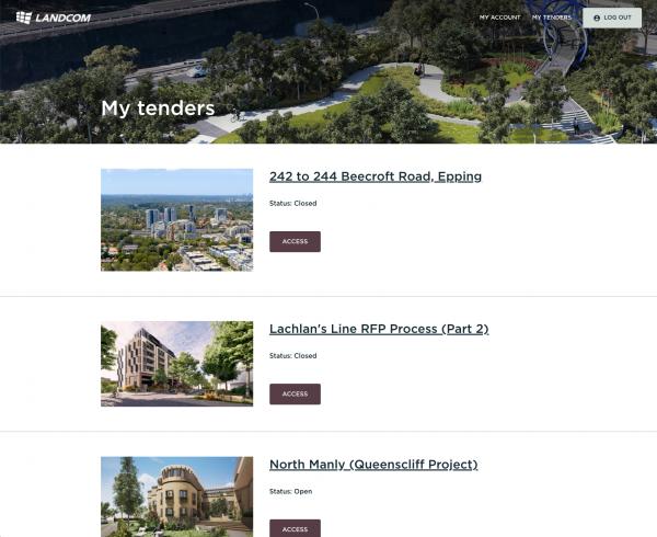 Landom Tender Portal homepage