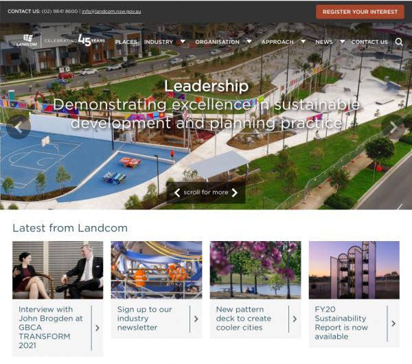 Landcom homepage