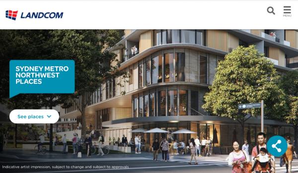Sydney Metro Northwest Places homepage