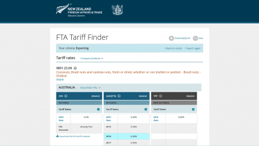 MFAT Tariff Finder Application