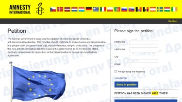 Amnesty International - European petition website