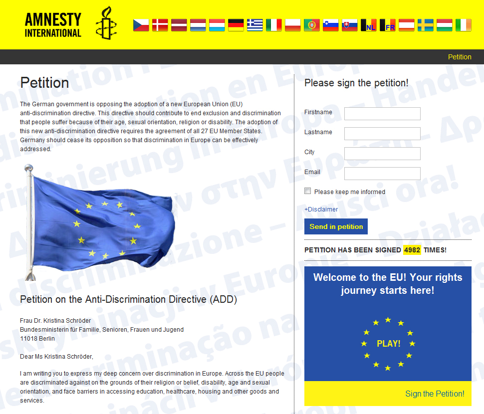 Amnesty International - European petition website (bartvanirsel)