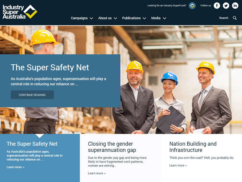 Industry Super Australia website (SparkGreen)