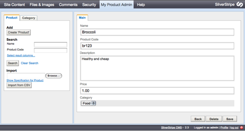 Screenshot of ModelAdmin